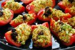 Raw Vegan Cauliflower Cous Cous stuffed Bell Peppers